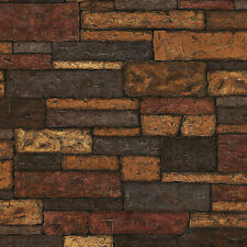 Prepasted Stone Brown Brick Wallpaper Roll Wall Background Texture Rust Modern