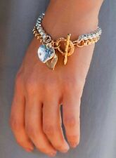 Handcraft Gold 24K Silver 925 Plated 2 Chains Bracelet Hang Hearts charm Pendant