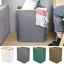 Foldable Laundry Basket Bamboo Linen Hamper W/ Handle Storage Bin Box Organizer