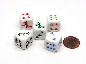 Pack of 5 Witch Halloween Themed 16mm Dice - White with Different Color Etches
