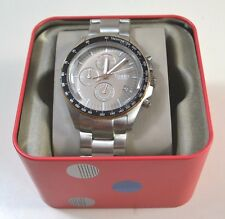 NWT FOSSIL SILVER-PLATED TONE STAINLESS STEEL CHRONOGRAPH WATCH CH3036