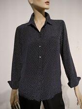 GANT-Bluse 38 reine Seide Blau Weiss Sterne-Print Damen-Hemd-Bluse