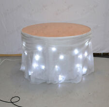 More details for 3m white starlight led cake table skirt with detachable voil overlay and swag