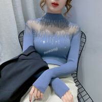 Women Chic Mesh Hollow Sequin Mock Neck Knit Sweater Party Cocktail Blouse Tops