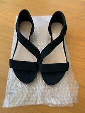 M&S Footglove Sandalia/Zapato de verano, Cuña Baja De Gamuza Negra Talla 5.5/39