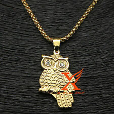 "Stainless Steel Women Gold Plated Mascot Owl Pendant Necklace 3MM 24"" Box Chain"