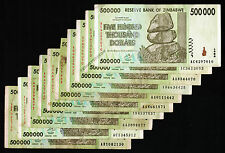 500,000 Zimbabwe Dollars x 10 Bank Notes 500 Thousand ~ Pre Million 100 Trillion