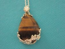 Stunning Silver Plated Pendant With 100% Natural Tigers Eye   (nk1709)