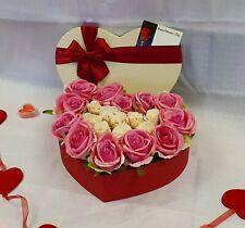 Artificial Luxury Velvet Pink Peach Rose Heart Box Silk Flower Wedding Valentine