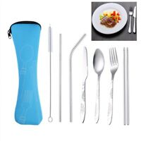 2/4/7Pcs/set Travel Portable Tableware Stainless Steel Cutlery Set with Bag Wond