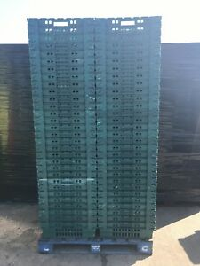 100 x Bail Arm Crates Storage Plastic Boxes Stacking Tray 600 X 400 X 200mm