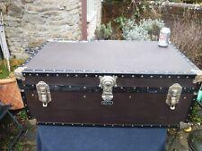 "Vintage British MOSSMAN 36"" Steamer, Boarding School, Luggage Trunk"