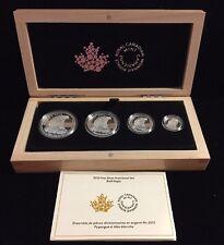 2015 Canada .9999 Silver 4-Coin Bald Eagle Set In Wood Box & COA