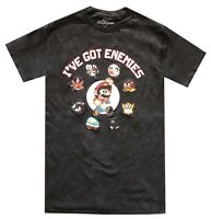 Nintendo Mario I've Got Enemies Black Men's T-Shirt New