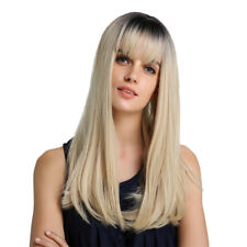 22'' Women Long Straight Ombre Wigs with Neat Bang for Cosplay Costume Party