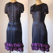 SILKY VINTAGE 80's RUFFLE BUTTON-BACK  PARTY DRESS 12