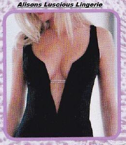 Splendour Negro sin Frente Sujetador Escotado Para Corte Bajo Vestidos 36C Con