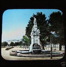 COLOUR GWW Glass Magic lantern slide MADRID FOUNTAIN OF 4 STATIONS C1890 SPAIN