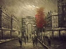 Nero Bianco PARIS Rosso Albero grande dipinto a olio su tela arte moderna francese Cityscape