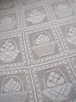 Vintage French crochet bed cover coverlet white knitted textile hand-made