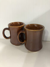 Set Of Two Brown Stonwware Coffee Mugs