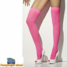 Opaque Hold-Ups Neon Pink Glamour Stockings Fancy Dress Costume Accesory
