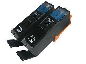 2x Tinte Patronen für Canon PGI550XL black Pixma IP 7250 MG 7550 refill