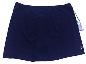 "Jofit Golf Navy Blue Pleated Dash Skort Long 18"" Skirt Size XXL Pockets New"