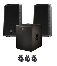 "2X EV Electro-Voice ZLX12P Active Speakers + ELX118P 18"" Powered Sub + 3-Cables"