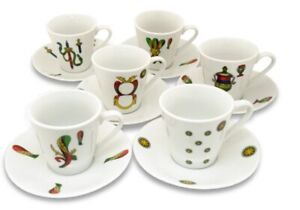Espresso Cups set of 6 Scopa Briscola Italian Playing Cards
