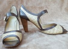 Enzo Angiolini Pumps Sz 6 Brown Natural Leather Heels Open Toe Strap Mary Jane