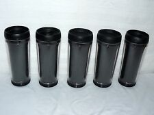 SET OF 5 MATCHING 16 OZ CREATE YOUR OWN TRAVEL TUMBLERS OPEN MOUTH LID