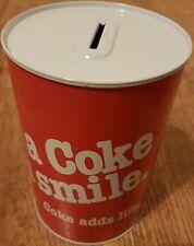 """COCA COLA """"HAVE A COKE AND A SMILE"""" MONEY BOX TIN - RARE & BARGAIN PRICE"""
