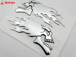 Skull Flame Fuel Gas Tank Fairing Emblems Badge Decal 3D Motorcycle L/R New Pair