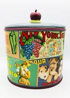 Vintage Labels, Sakura, NY,  Oval Cookie Jar Stoneware by Oneida. China.