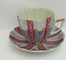 Castle Japan Vintage China Iridescent Tea Coffee Cup & Saucer Pink & blue