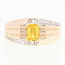 Men's Synthetic Sapphire & Diamond Ring - 14k Yellow Gold Ribbed 1.12ctw
