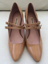 Dune UK3 Brown Patent Leather Court Shoes.  Heel. Pointed Toe Peaky Blinders