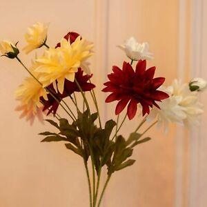 Artificial Silk Dahlia Green Plant Fake Flower Wedding Home Decor Bouquet 1Pc