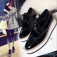 Chic Womens Preppy Brogues Flats Platform Wing Tip Oxford Lace up Sneaker Shoes