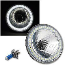 "5-3/4"" Stock Style H4 Light Bulb Headlight w/ White SMD LED Angel Eye Halo EACH"