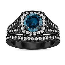 ENHANCED BLUE DIAMOND ENGAGEMENT RING & WEDDING BAND SETS 1.78CT 14K BLACK GOLD