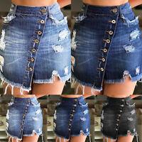 Women Strench High Waist Ripped Skirt Summer Button Denim Short Mini Jeans Dress