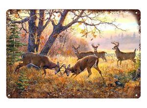 home wall Deer Hunting wild life animal sportsman collectible metal tin sign