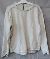 Girls Zara Off White Frayed Hems Stitch Detail Long Sleeve Top Age 9-10 Years