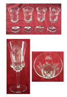 VINTAGE Wine Cocktail Glasses 8 oz. Etched Wheat Wild Flowers Clear 4-Piece Set