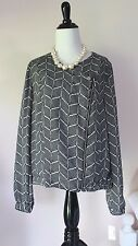 Roz Ali Blazer Suit Jacket L 12 Dressbarn Black Career Separate Asymmetric Zip