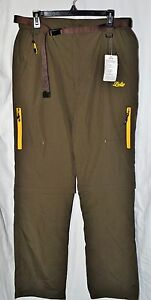 Geval Lutu Men's 100% Nylon Green Belted Zip-off Shorts/Pants Size Medium NEW