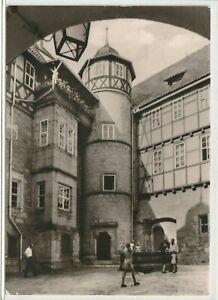 Ansichtskarte Schleusingen - Schloss Bertholdsburg/Schlosshof - schwarz/weiß