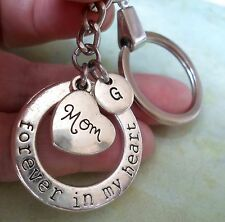 Mom Keychain - Forever in My Heart with Letter Charm * Great Gift for Mom